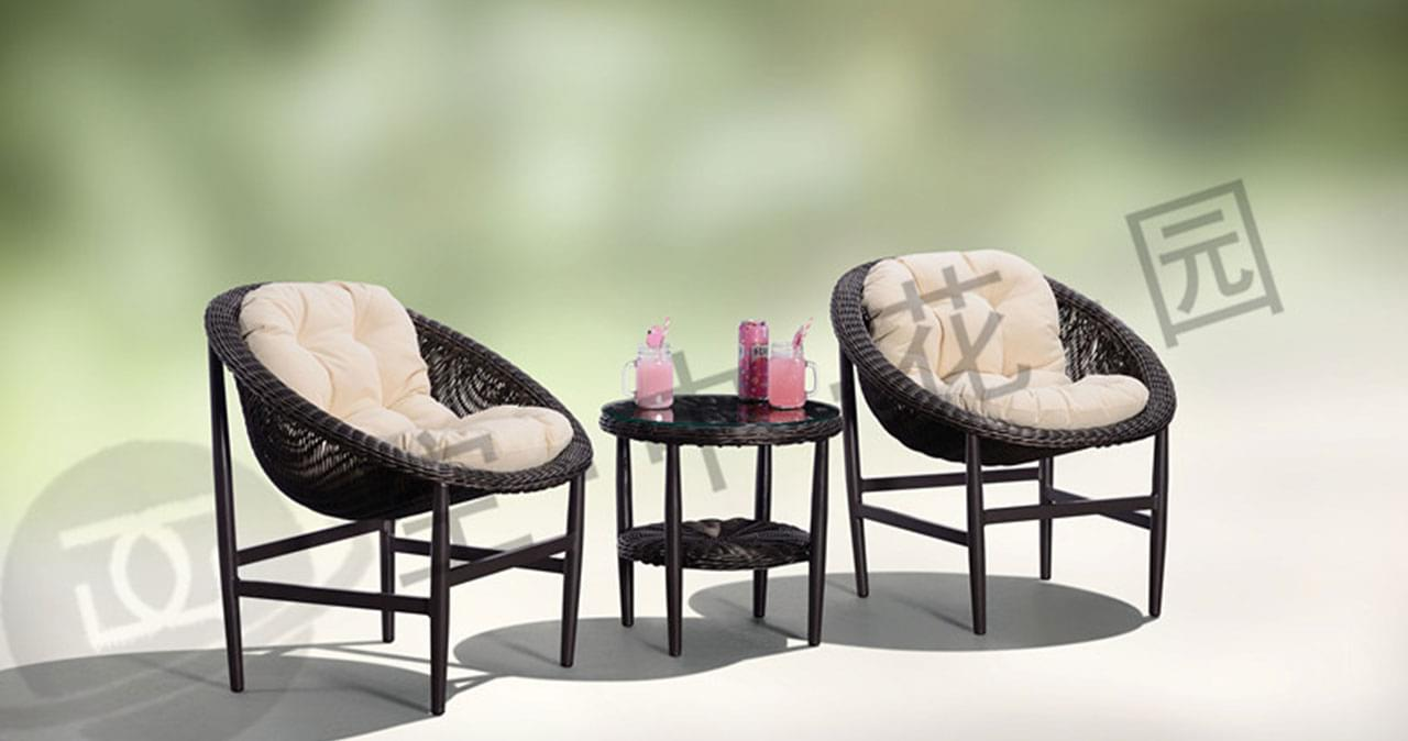 帝加帕沙特圆管脚架休闲椅  咖啡色圆藤椅茶几三件套 庭院户外家具阳台桌椅组合