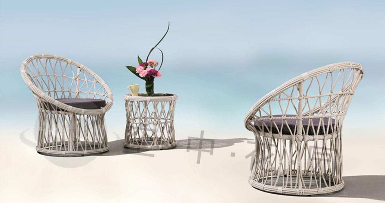 帝加宝骏阳台藤椅茶几户外组合 庭院花园藤桌椅套装创意藤艺家具