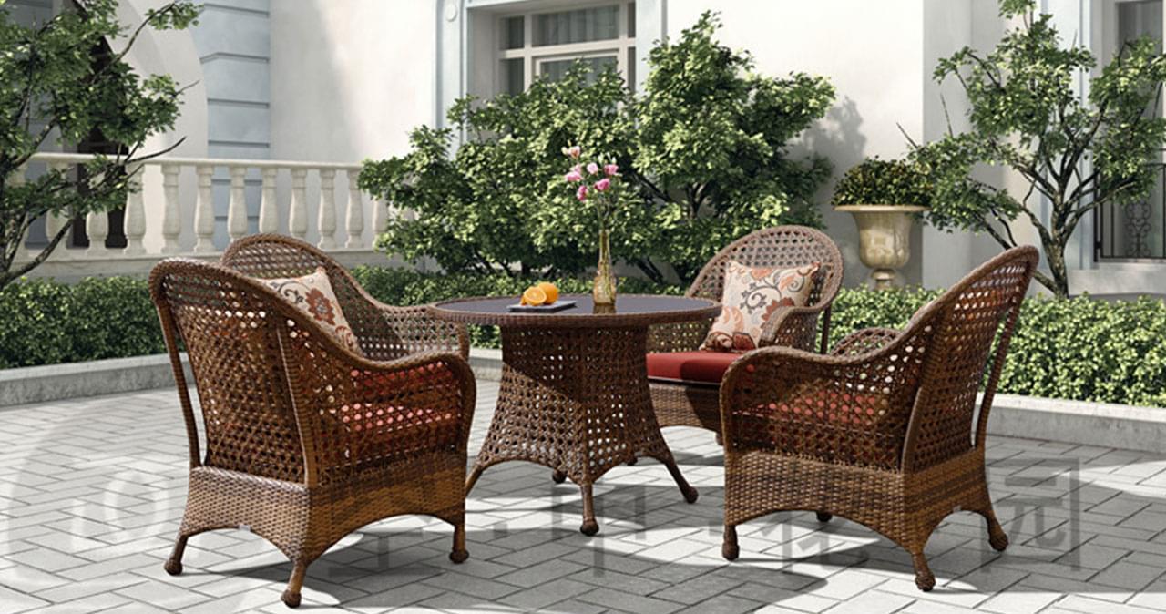 帝加迈阿密户外家具藤编阳台桌椅组合套装 高品质时尚餐厅藤椅茶几五件套