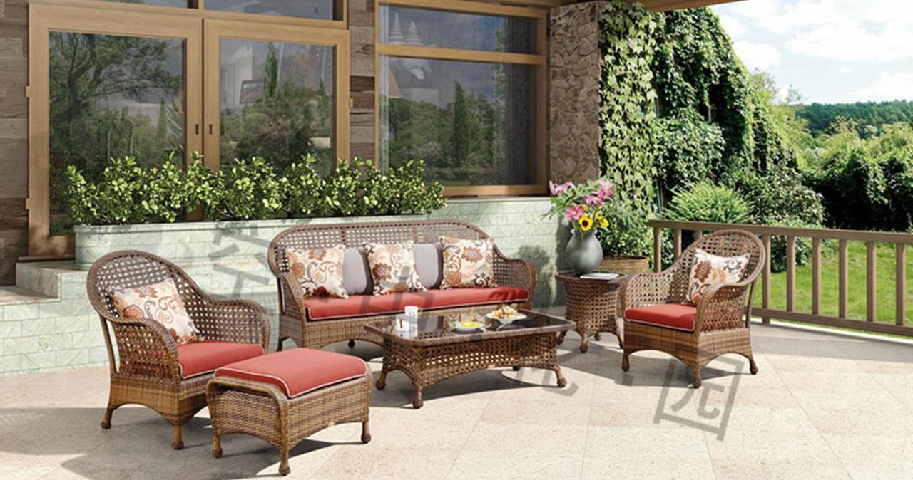 帝加迈阿密户外家具藤编阳台沙发组合套装 高品质时尚餐厅藤沙发六件套
