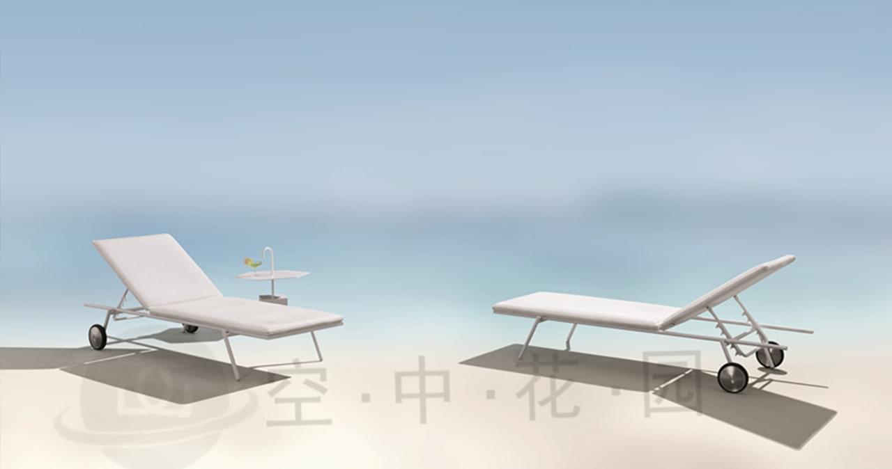帝加卡尔顿户外家具沙滩躺床 庭院露台酒店度假村不锈钢带轮白色3D棉躺椅
