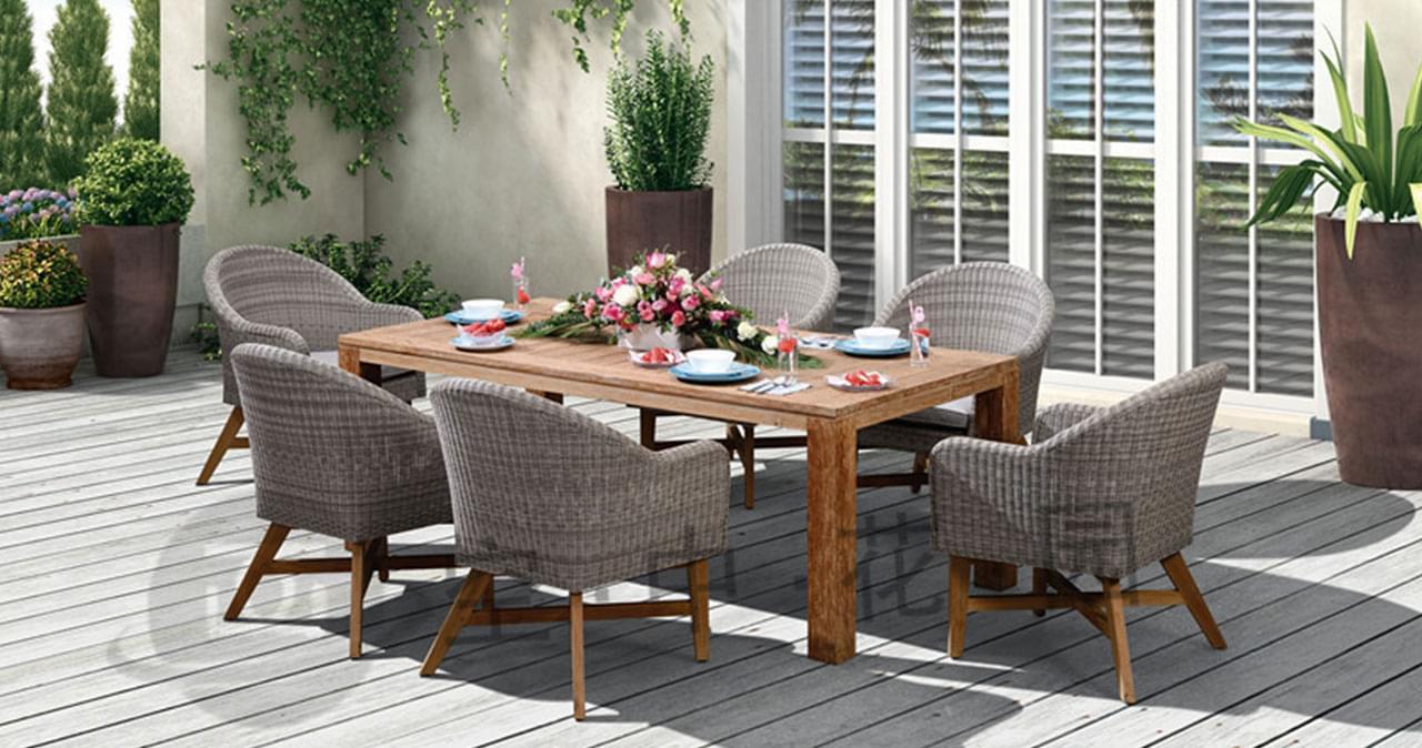帝加罗马简约风格 高档户外藤编桌椅组合 别墅庭院花园家具藤编一桌六椅