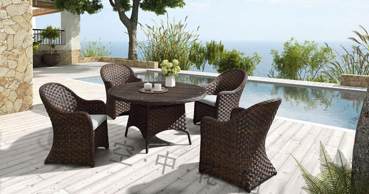 帝加卢梭户外家具藤编阳台桌椅组合 简约时尚餐厅藤椅茶几五件套