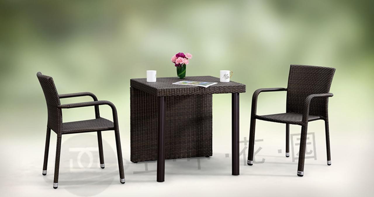 帝加积木创意户外家具组合 易拆装时尚棕色细纹藤阳台户外桌椅套装