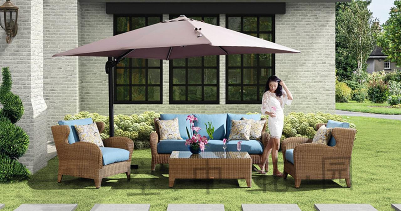 帝加休斯顿户外家具藤桌椅组合 休闲庭院花园金色圆藤桌椅藤编沙发