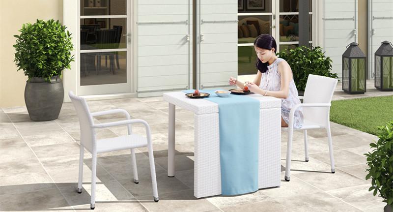 帝加积木创意户外家具组合 易拆装时尚白色细纹藤阳台户外桌椅